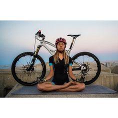 Meditative mountain bike girl