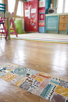 mosaic in wood floor