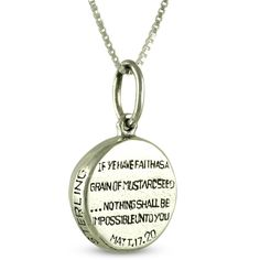 This is an image of the back of the mustard seed pendant, showing the verse Matthew 17:20.