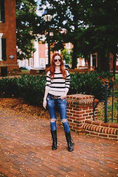 stripes, rips, boots via Sea of Shoes