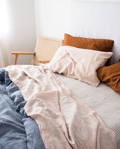Blush, Soft Grey Stripes, Baby Blue Chambray and Ochre Linen. The best linen bedding combination. Neutral Bed Linen, Black Bed Linen, Bedding Master Bedroom, Blue Bedroom, Bedroom Art, Ikea Bedroom, Bedroom Plants, Zara Home, Master Suite