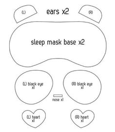 Kids Sleep Mask, Mask For Kids, Child Sleep, Sewing Patterns For Kids, Felt Patterns, Sock Crafts, Felt Crafts, Dyi Crafts, Panda Costumes