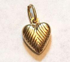 Vintage 585 14K Yellow Gold Hollow Stripe Heart Necklace Pendant Charm .8G #Pendant
