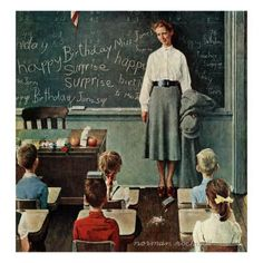 "Norman Rockwell (American): Oil Painting, Saturday Evening Post, ""Happy Birthday, Miss Jones"" (Mar. Canvas Art Prints, Canvas Fabric, Painting Prints, Canvas Wall Art, Canvas Canvas, Oil Paintings, Norman Rockwell Prints, Norman Rockwell Paintings, Miss Jones"
