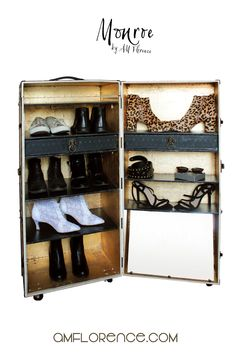 Vintage style Elegant Shoe Cabinet Rack for precious Unique Homes. Clever Steamer Trunk Storage furniture to match with your fab shabby chic precious wardrobe! Shoe Storage Trunk, Shoe Cabinet, Liquor Cabinet, Vintage Style Shoes, Cabinet Styles, Storage Cabinets, Decorating Your Home, Shoe Rack, Print Patterns