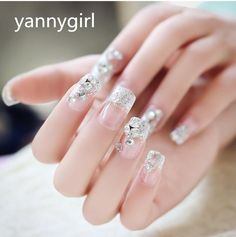 Bling Art False Nails Bridal French Manicure Pink Sparkle 24 Full Cover Medium Tips For Wedding Professional Nails Nail Gel From Yannygirl, $13.49  Dhgate.Com