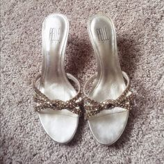 """Pelle Moda gold kitten heel slide sandals size 7.5 In good used condition, only worn a couple of times.  Pelle Moda gold 1.5"""" kitten heel slide.  With amber embellished crystals on top.  Leather lining and leather sole.  No crystals missing.  Cute party shoes. Size 7.5.  Comes with original box. Pelle Moda Shoes Sandals"""