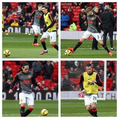 Angel Di Maria, @LukeShaw23, @Falcao and @RobinvanPersie prepare for kick-off at Old Trafford. Follow all the action via ManUtd.com/matchblog.