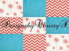 Coral Dandelion Coral Chevron and Aqua  Minky by DesignsbyChristyS, $40.00