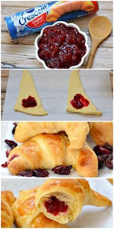 Only 2 ingredients and 15 minutes and these easy dinner rolls are ready to eat! … Only 2 ingredients and 15 minutes and easy dinner rolls are ready to eat! Put the cranberries in the crescent roll and surprise your guests with a delightful twist! Croissant, Fall Recipes, Holiday Recipes, Christmas Desserts, Crescent Roll Recipes, Stuffed Crescent Rolls, Holiday Dinner, Christmas Dinner Side Dishes, Fall Dinner