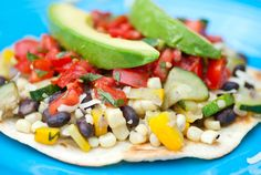 Veggie tostada. I love finding vegetarian recipes that aren't BORING! :)
