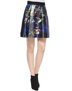 ALICE AND OLIVIA LORAN PRINTED A-LINE SKIRT, BLACK/MULTICOLOR. #aliceandolivia #cloth #