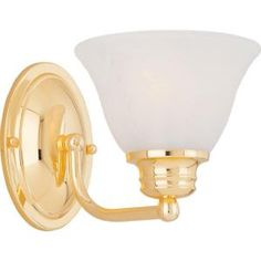 1-Light Wall Sconce with Marble Glass - Polished Brass -DISCONTINUED-HD-MA40012060 at The Home Depot