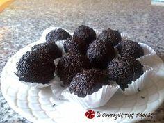 Μεθυσμένα τρουφάκια πανεύκολα #sintagespareas Greek Sweets, Truffles, Blackberry, Sweet Tooth, Deserts, Fruit, Recipes, Food, Essen