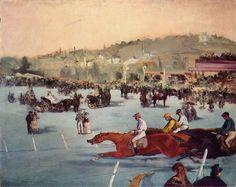 The Races in the Bois de Boulogne Édouard Manet - 1872 Oil Painting On Canvas, Painting Frames, Painting Prints, Oil Paintings, Art Print, Canvas Art, Pierre Auguste Renoir, Edouard Manet Paintings, Georges Seurat
