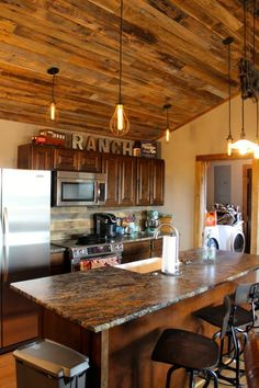 This Blue Fire Granite was Leathered and Enhanced to give the Ranch Kitchen the ultimate rustic vibe. - Granite - Kitchen Countertops - Leathered - Remodel - Home Decor - Rustic