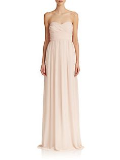 Monique Lhuillier Bridesmaids - Pleated Chiffon Sweetheart Gown