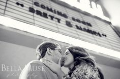 #engagement #theatre #marquee #b&w #kiss © Bella Muse   www.Bella-Muse.com