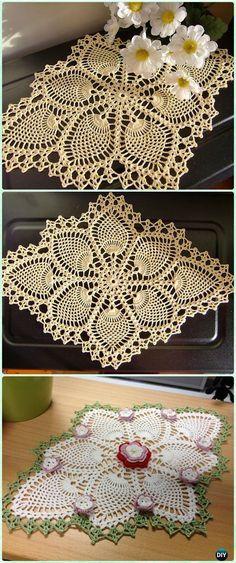 Crochet Pineapple Delight Doily Free Pattern - Crochet Doily Free Patterns