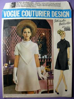 Vogue Couturier Design Womens A-Line Dress Sewing Pattern by Designer Belinda Bellville; One-Piece Dress. Semi-fitted A-line dress with V-shaped slot seaming has bias inset standing neckline. Short kimono sleeves. Front and back lower skirt is cut on bias. Top-stitch trim. Featured in Vogue Pattern Book October/November 1969  Misses Size: 10 Bust: 32 1/2 Waist: 24 Hip: 34 1/2  This pattern is UNCUT and complete with instruction sheet and label. The envelope pictured is the one ...