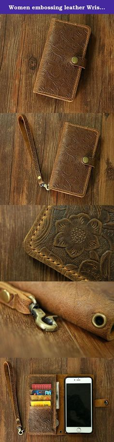 """Women embossing leather Wristlet iPhone 7 wallet case iPhone 7 mobile wallet / leather iPhone 7 7 plus wallet case cover IP7P20MW-B. **************************************** Why we honor and insist on hand sew our leather product ? Leather sewing machines commonly use the """"lock stitch"""" , If just one loop of a lock stitch is broken, the other side will automatically be loosened, often this process of unraveling will continue until the entire product is ruined. Hand sewing (saddle stitch)…"""