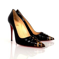 Christian Louboutin Patent Leather Leopard Print Red Sole Fine Point Black Pumps