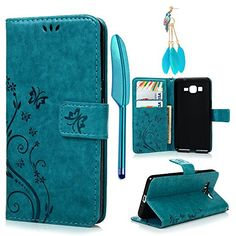 Galaxy Grand Prime G5308G530H CaseMOLLYCOOCLE Stand Wallet ID Holders Emboss Vintage Flower Design Flip Folio TPU Soft Bumper PU Leather Skin Cover for Samsung Galaxy Grand Prime G5308G530H Blue ** Find out more about the great product at the image link. Note: It's an affiliate link to Amazon