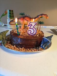 """Easy dinosaur cake! Duncan Hines chocolate cake mix, 2 - 9"""" round tins, 2 containers of chocolate frosting and about 15 crushed chips a'hoy cookies for dirt. I got the plastic dinosaurs at the toy store and palm trees at Michael's. Got the great idea from another pinner...it was a winner!!!"""