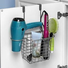 grid small over the cabinet hair dryer holder accessory basket