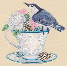 Nuthatch and Cozy Coffee design (M11125) from www.Emblibrary.com