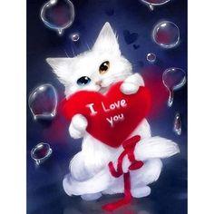 I love you my cat - Peinture diamant - Diamond painting Cat Wallpaper, Cartoon Wallpaper, New Good Night Images, Good Night Wallpaper, Love You Gif, Night Pictures, Cute Animal Drawings, Paintings I Love, Love Images