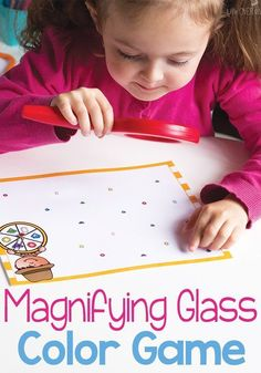 Learning colors is so much fun with this magnifying glass color game for preschoolers! A free printable for identifying and matching colors with the fun of a magnifying glass! Pre K Activities, Preschool Learning Activities, Preschool Printables, Preschool Science, Color Activities, Preschool Ideas, Montessori Preschool, Preschool Lessons, Language Activities