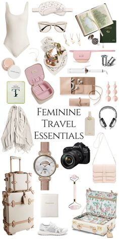 My Feminine Travel Essentials - Annie Fairfax : My Favorite Travel Accessories and Essentials Packing Tips For Vacation, Travel Packing, Travel Backpack, Vacation Travel, Beach Travel, Vacation Trips, Family Travel, Travel Essentials For Women, Road Trip Essentials
