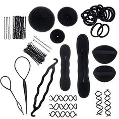 Amazing Value Hairdressers Salons Quality Hair Styling Set Kit In Black Colors With Donuts / Doughnuts, Buns Formers / Makers / Shapers, Twist Braids Clip, Volumes Base, Slides / Pins / Barrettes And Elastic Stretch Bands By VAGA