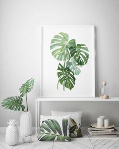 Monstera leaf watercolor art, botanical art print, minimal w Interior Tropical, Tropical House Design, Tropical Home Decor, Tropical Houses, Tropical Furniture, Watercolor Plants, Watercolor Leaves, Watercolor Art, Modern Artwork