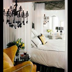 Black, white, yellow bedroom