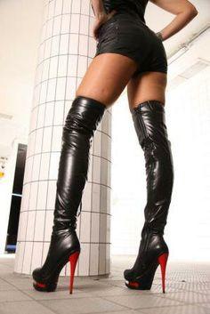 Black/Red Doubleplatform Boots