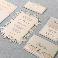 Elegant laser cut wedding stationery by B Wedding Invitations                                                                                                                                                                                 More