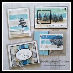 """Hello and happy Wednesday! Today I have a set of cards using the """"Painters Tape Technique. This is a really cool idea and the pos. Masculine Birthday Cards, Masculine Cards, Paper Crafts, Diy Crafts, Painters Tape, Blue Roses, Best Dad, Stampin Up Cards, Cardmaking"""