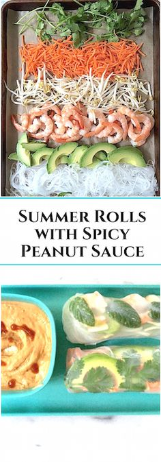 Make-Your-Own Summer Rolls with Spicy Peanut Sauce. You set up the fixings, everyone gets to make their own. Mom's Kitchen Handbook Source by nwnutrition Summer Rolls, Spring Rolls, Asian Recipes, Great Recipes, Favorite Recipes, Healthy Snacks, Healthy Eating, Healthy Recipes, Salad Rolls