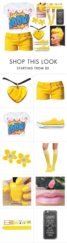 """Gemini Lucky Color: Yellow"" by kiara-fleming ❤ liked on Polyvore featuring Baccarat, Svea, Full Tilt, Converse, Betsey Johnson, Hot Topic, Zoya, Dolce&Gabbana and Casetify"