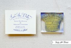 What do you think about getting a variety of UNC postcards and using a stamp like this for the save the dates?