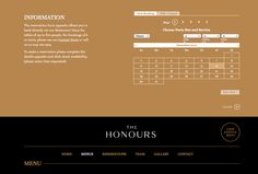 reservation form // http://thehonours.co.uk/menus.html