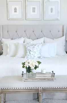 Serene tone on tone bedroom - Erin Vogelpohl's Dallas home is what dreams are made of. Tour the light-filled, refined space and you may recognize her by her instagram @mytexashouse.