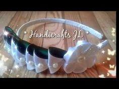 Diadema decorada con listón - YouTube Headband Tutorial, Bow Tutorial, Ribbon Art, Ribbon Crafts, Ribbon Headbands, Baby Headbands, Fabric Bows, Fabric Flowers, Headband Hairstyles