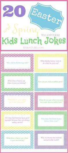 Surprise your kids with these Easter/Spring Free Printable Lunch Jokes for your kids lunch boxes!!  Capturing-Joy.com