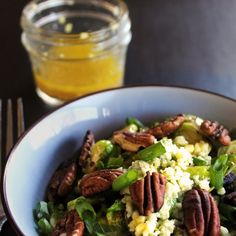 Warm Brussels Sprout Salad With Apple Cider Ginger Dressing Recipe Salads with pecans, olive oil, onions, brussels sprouts, Fuji Apple, crumbled blue cheese, green onions, apple cider, apple cider vinegar, maple syrup, fresh ginger, garlic cloves, salt, pepper
