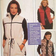 McCalls 9525 Fleece Vest Pattern Easy Uncut 3 Lengths Sizes 8-22 Drawstring