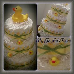 Rubber duck diaper cake. Yellow rubber duck perfect for baby shower baby gift or 1st birthday gift. Light up rubber duck on top. Free ship by MyJoyfulTiers on Etsy