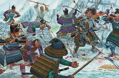 The Gempei Wars 1180-85 by Stephen Turnbull. Artist Giuseppe Rava perfectly captures this desperate scene, showing Kajiwara Kagesue with his back against the wall on the beach at Ichinotani in 1184.